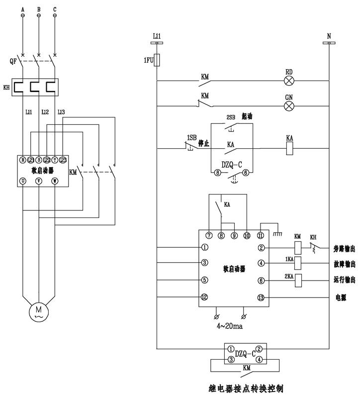 DZQ-C(BT-DZQ/C) 软启动器防晃电应用 软启动器具有低电压自动复位功能,当遭遇电源瞬时失压时,则软启动器自动关闭,电源恢复后需人工起动才能恢复运行。软启动的防晃电控制是需在电源恢复后延时发出再起动指令,但需正确区分晃电与正常停车的情况,只有在晃电时才发出再起动指令,避免误动作。 DZQ-C(BT-DZQ/C) 产品概述 DZQ-C(BT-DZQ/C)软起动器防晃电控制器,适用于380/220V控制电源系统,并联于软起动器的控制电路上,能准确地判别运行中软起动器是因电源失压而停止原由, 仅在电源